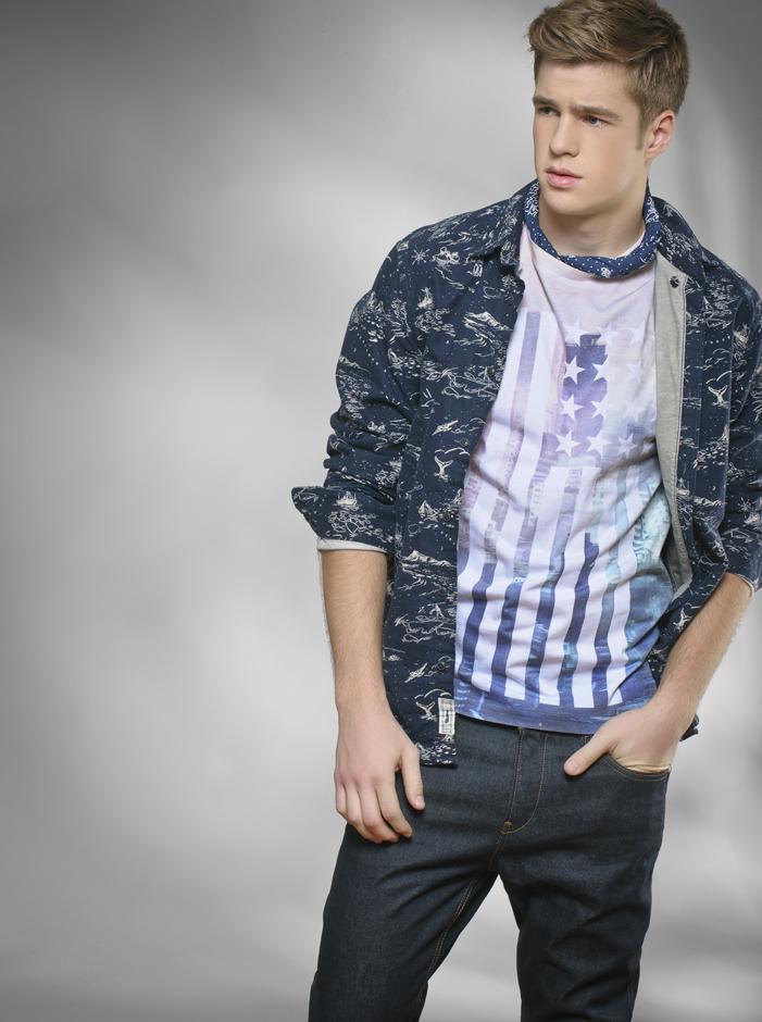 Shirt & tee, H&M; Jeans, Boss Hugo Boss; Bandana, Levis