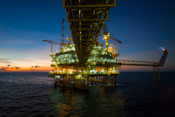 Oil and gas platform in the gulf or the sea, Offshore oil and ri