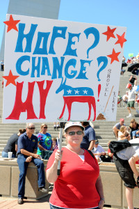 SAINT LOUIS, MISSOURI - SEPTEMBER 12: Woman holding sign at rally