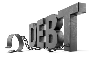 debt text with shackles