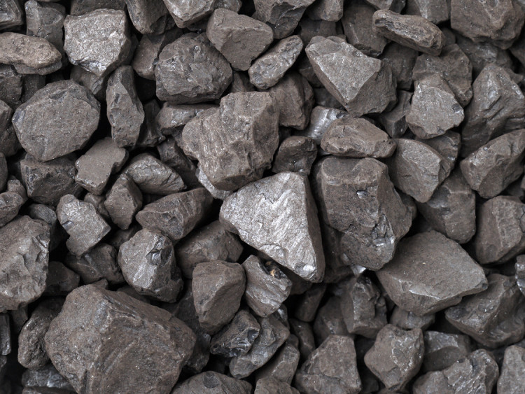 Closeup of black coal lumps