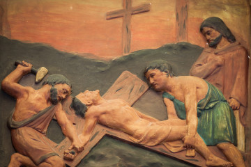 Bangkok Thailand - February 28 : The Carving Of Jesus Is Nailed