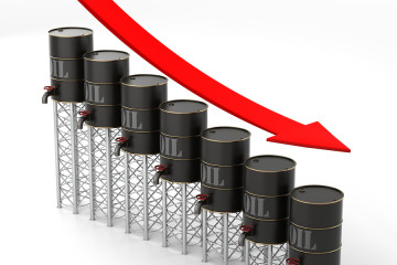Falling Oil Price. High quality 3D render illustrating the falling price of oil.
