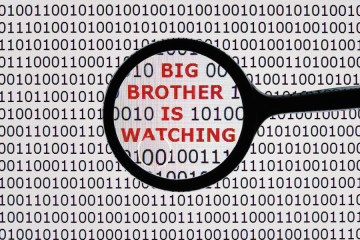Internet security concept the words big brother is watching on a