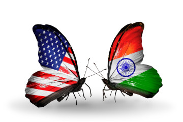 Two Butterflies With Flags On Wings As Symbol Of Relations Usa A