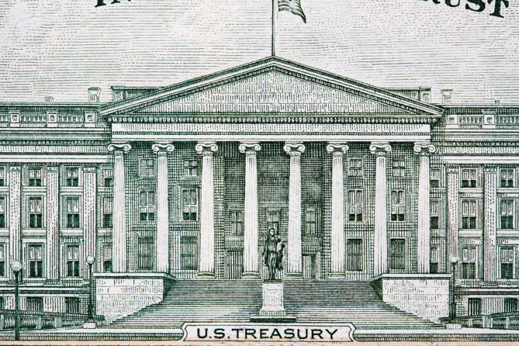 U.s. Treasury Building From Ten Dollar Bill