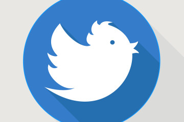 Flying blue twitter bird, icon with shadows