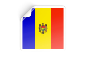 Square sticker with flag of moldova isolated on white