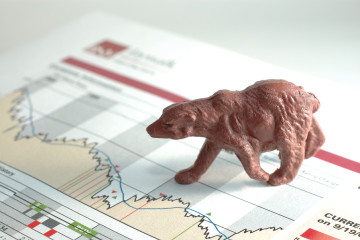 close up of a bear on a stock chart