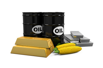 Commodities - Oil, Corn, Gold and Silver isolated on white background. 3D render