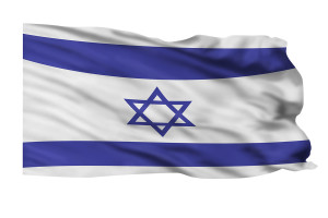 Flying flag of Israeli flying high in wind.