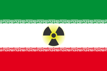 Isolated flag of Iran with radiation symbol