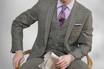 Suit, Coppley; Shirt, Geoffrey Beene; Tie, Ike Behar; Pocket Square, Vintage