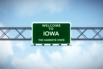 Iowa USA State Welcome to Highway Road Sign 3D Illustration