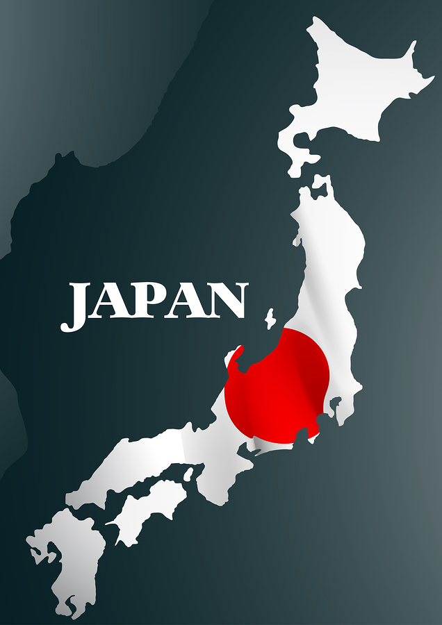 Japanese Country Map With National Flag