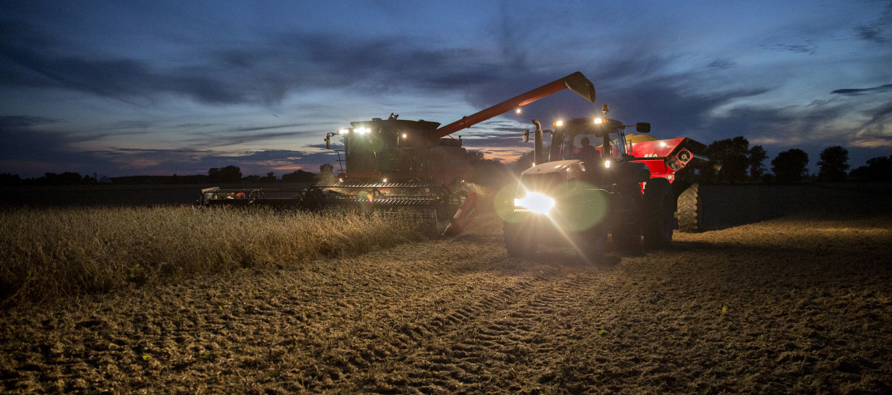 Soybeans are harvested with a Case IH 7230 combine harvester at dusk in Princeton, Illinois, U.S., on Thursday, Sept. 24, 2015. Soybean futures for November delivery fell 0.9% on the Chicago Board of Trade after reaching $8.92, highest for most-active contract since Sept. 16. Photographer: Daniel Acker/Bloomberg