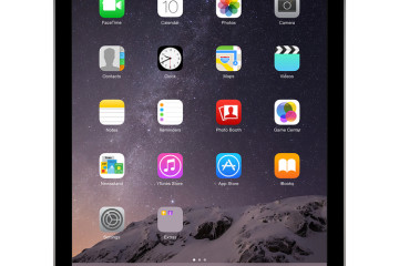 Varna Bulgaria - February 02 2014: Apple Space Gray iPad Air 2 with touch ID displaying iOS 8 homescreen designed by Apple Inc. Isolated on white background. High quality.