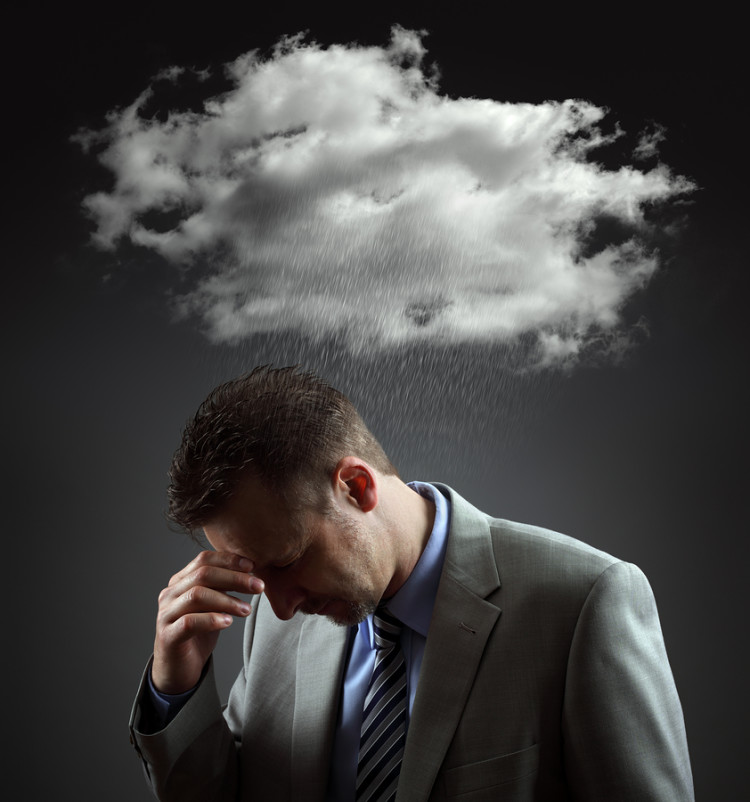 Stress, depression and despair - gloomy storm cloud raining abov