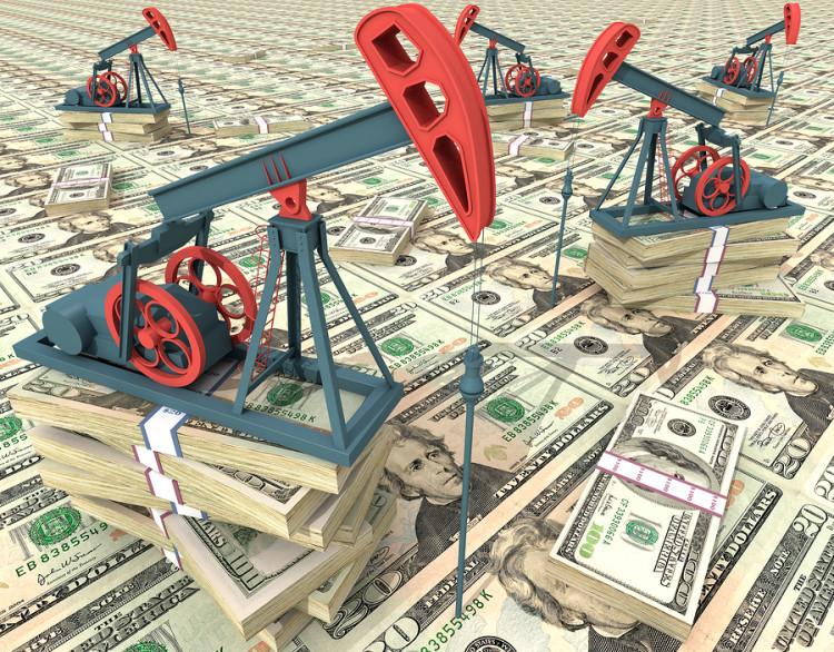 Oil pumps on dollar banknotes. Conceptual 3D illustration.