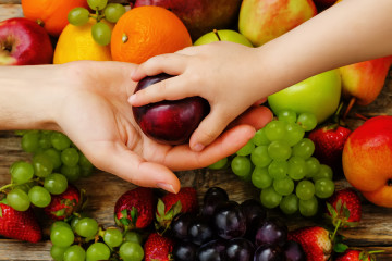 children hand takes the plum from man's hand