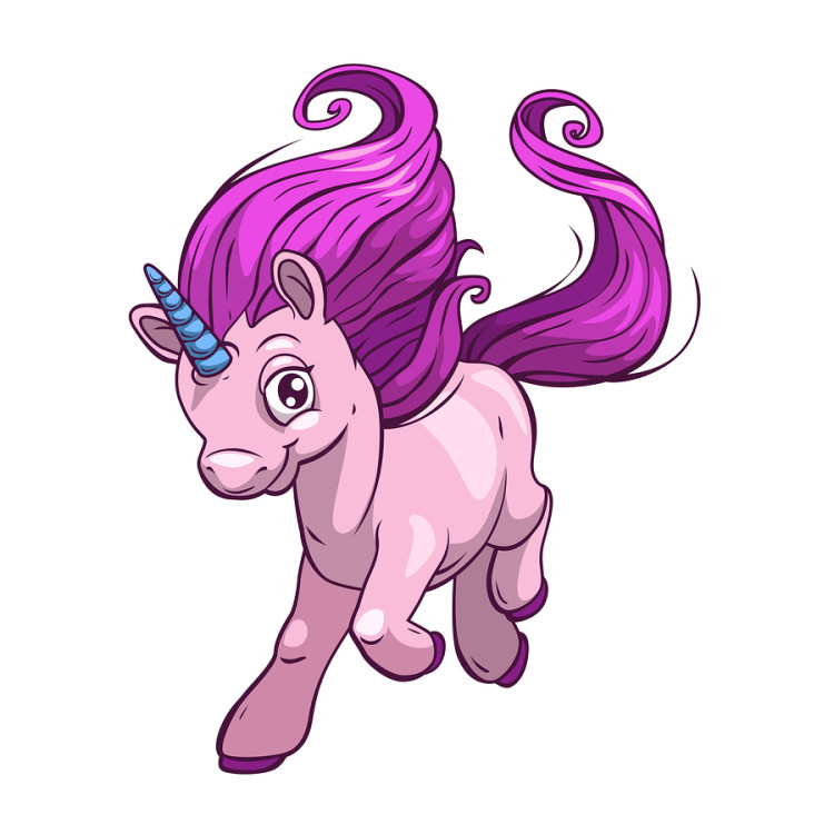 Little cute cartoon fantasy unicorn