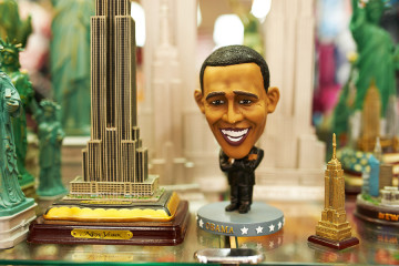 NEW YORK CITY - MARCH 27: Statue of Barak Obama in a gift shop i