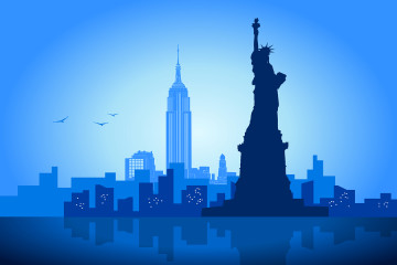 An illustration of New York City skyline with  Liberty Statue