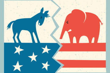 democrat donkey versus republican elephant political illustratio