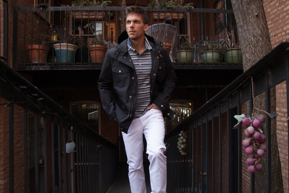 Men of Value Spring 2016 Fashion - Parka and White Jeans
