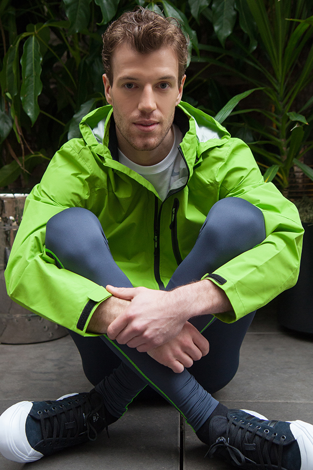 man wearing a Jacket; Hawk & Co., Tee, Nike; Compression Tights, Under Armour; Sneakers, Adidas