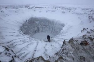 crater with ice and snow